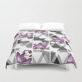 Pink lilies on grey triangles . Duvet Cover