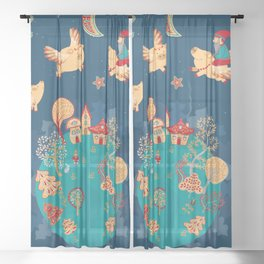 Flying pigs in the night, gnomes, fabulous houses, magical forest, mysterious planet. Sheer Curtain