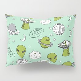 Alien outer space cute aliens french fries rad sodas pattern print mint Pillow Sham