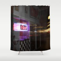 pizza Shower Curtains featuring Pizza by livedwards