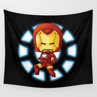 chibi Wall Tapestries featuring Chibi Ironman by artwaste
