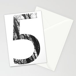Minimal Number Five Print With Photography Background Stationery Cards