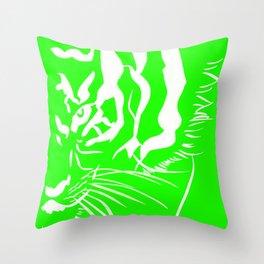 Eye of the tiger - Green & White Throw Pillow