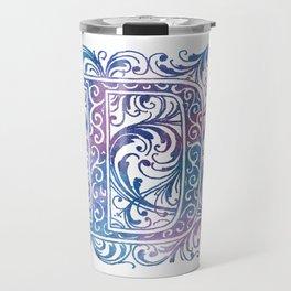 Letter D Antique Floral Letterpress Monogram Travel Mug