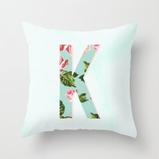 Floral Letter K - Letter Collection Throw Pillow