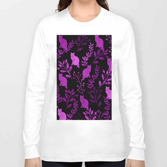 Watercolor Floral and Cat II Long Sleeve T-shirt