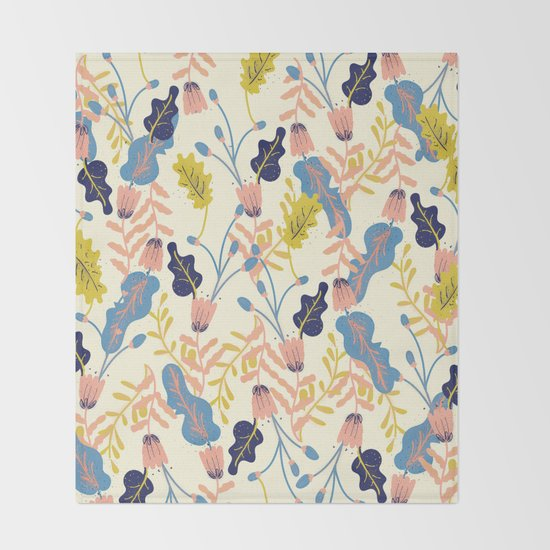 Pastel Floral Pattern Throw Blanket
