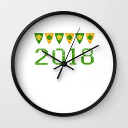 2018 Irish Flag Shamrocks St. Patrick's Day Ireland Wall Clock