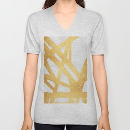 Modern pattern with gold I Unisex V-Neck