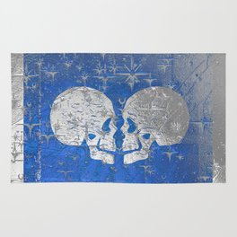 Silver Metallic till Death do us Part Love Skulls Rug