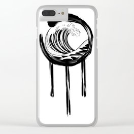 Black and white Japanese Wave and Circle Clear iPhone Case