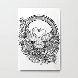 Swan Love Birds Ink drawing Metal Print