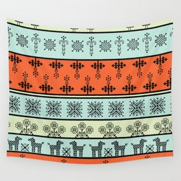 folk embroidery, flowers, birds, peacocks, horse, symbols earth, sun fertility, harvesting Wall Tapestry