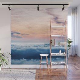 Aqua Peach Vanishing Horizon Wall Mural