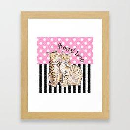 Bengal Cats Love Polka Dot Pink Stripes Framed Art Print