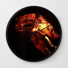 Tyrannosaurus Rex dinosaur in light. Wall Clock