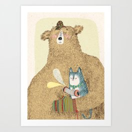 bear and cat Art Print