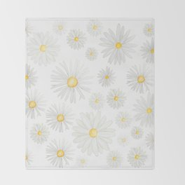 white daisy pattern watercolor Throw Blanket