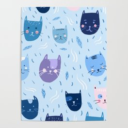 Little blue cats Poster