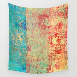 Brilliant Encounter, Abstract Art Turquoise Red Wall Tapestry