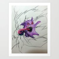 gengar Art Prints featuring Gengar by EzraTheMad