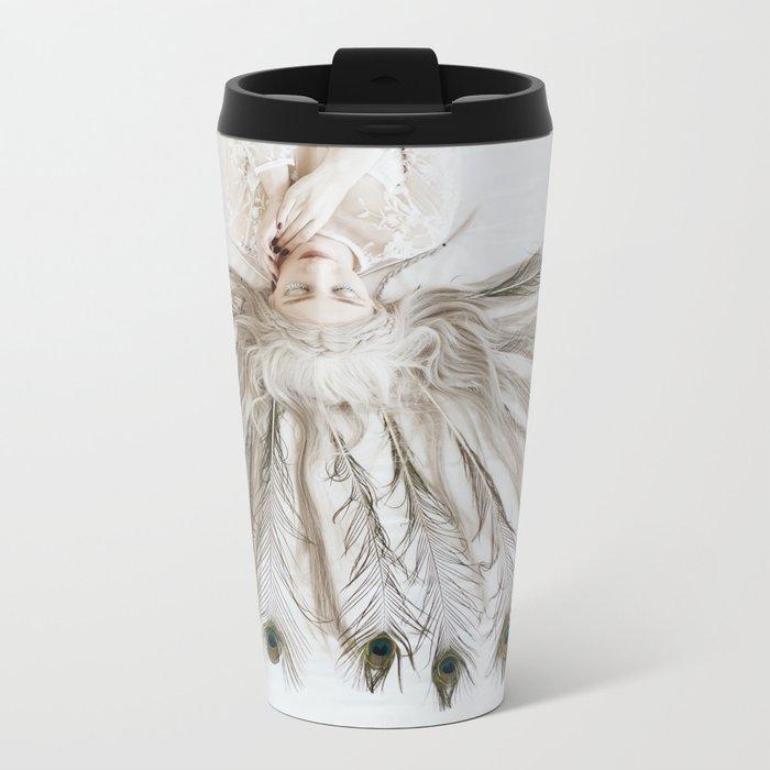 Peacock girl Metal Travel Mug
