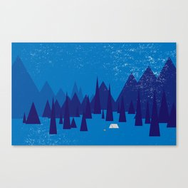 Sleeping in the blue mountains under a blanket of snow Canvas Print