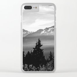Morning in the Mountains Black and White Clear iPhone Case