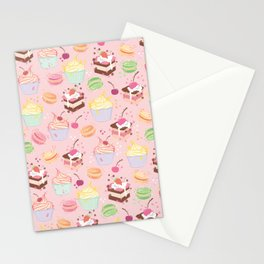 sweet pattern aka cake , cupcake and macaroon Stationery Cards