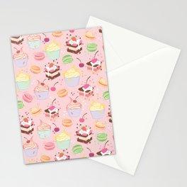 sweet pattern aka cake , cupcake and macaroon Stationery Cards