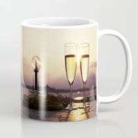 champagne Mugs featuring Champagne Date by Brown Eyed Lady