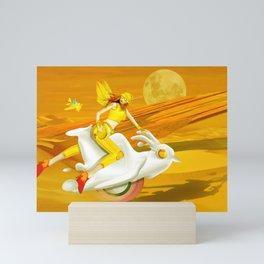 Yellow woman Mini Art Print