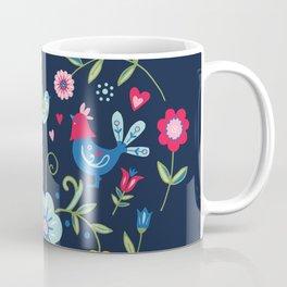 Scandi Folk Heart on Dark Coffee Mug