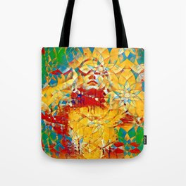 6759s-KMA The Woman in the Stained Glass Sensual Feminine Energy Emerging Tote Bag