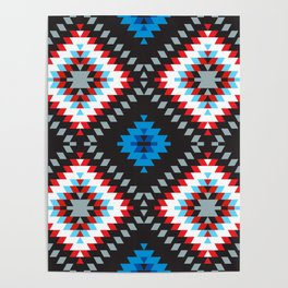 Colorful patchwork mosaic oriental kilim rug with traditional folk geometric ornament. Tribal style Poster