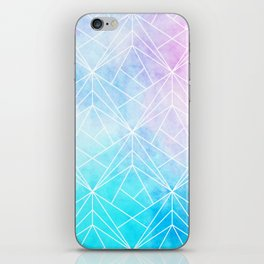 Geometric White Pattern on Watercolor Background iPhone Skin