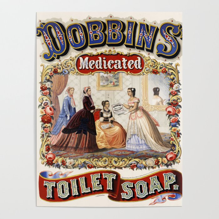 Vintage Bathroom Art Poster