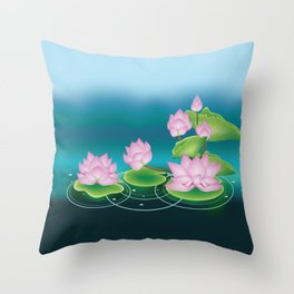 Lotus Flower with Leaves Throw Pillow