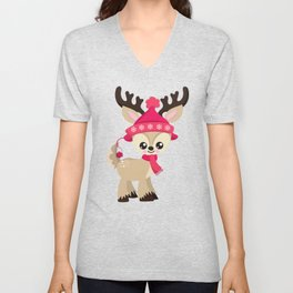 Cute Reindeer, Reindeer With Pink Hat And Scarf Unisex V-Neck