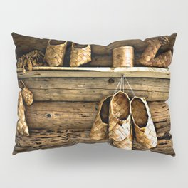 Medieval Bast Shoes On The Wooden Wall Pillow Sham