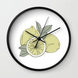 Botanical fruit illustration line drawing - Lemons Wall Clock