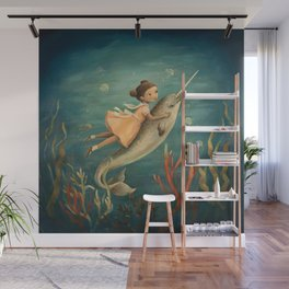 Narwhal Girl by Emily Winfield Martin Wall Mural