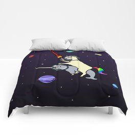 Llamacorn Riding Narwhal In Space Comforters