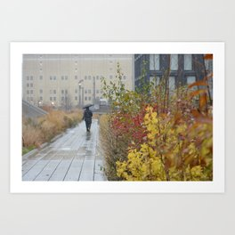 Walking in the rain in New York Art Print