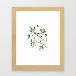 Chickadee on a tree! Framed Art Print