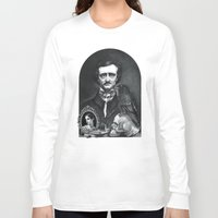 edgar allan poe Long Sleeve T-shirts featuring Edgar Allan Poe Portrait by Eeriette