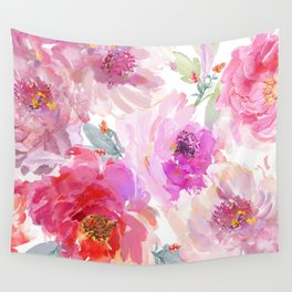 Big Watercolor Flowers in Violet and Pink Wall Tapestry