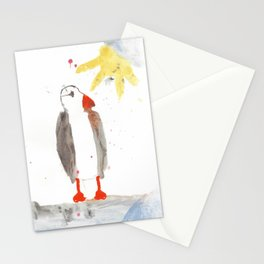 PUFFIN WATERCOLOR NAIVE PAINTING Stationery Cards