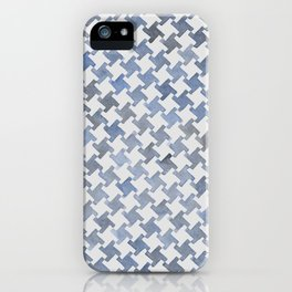 MODERN HOUNDSTOOTH (BLUE), hand-painted by Frank-Joseph iPhone Case