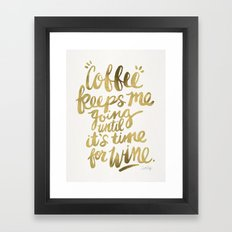 Coffee & Wine – Gold Framed Art Print
